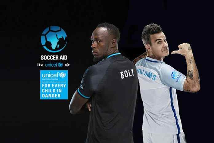 unicef,soccer aid,soccer aid 2018,robbie williams,usain bolt