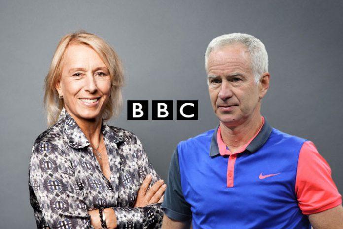 Martina Navratilova (left) and John McEnroe (right, former tennis stars and broadcast presenter of Wimbledon at BBC - InsideSport