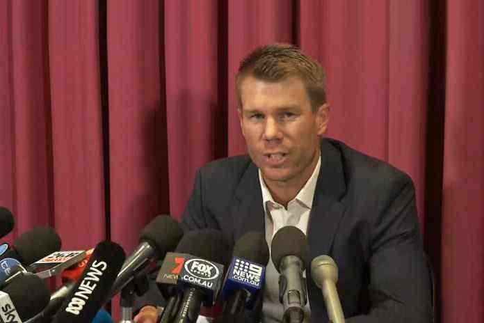 David Warner during press conference after the ball tampering scandal: Warner plotting $1m interview for ball tampering 'revelation' : Report - InsideSport