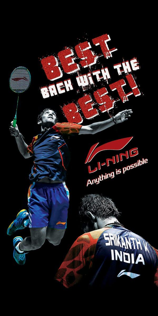Li-Ning back as Kidambi Srikanth's kit sponsor
