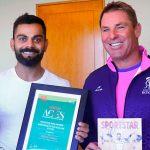 Virat Kohli,Rajasthan Royals,Shane Warne,Sportsperson of the Year,Rajasthan Royals Brand Ambassador