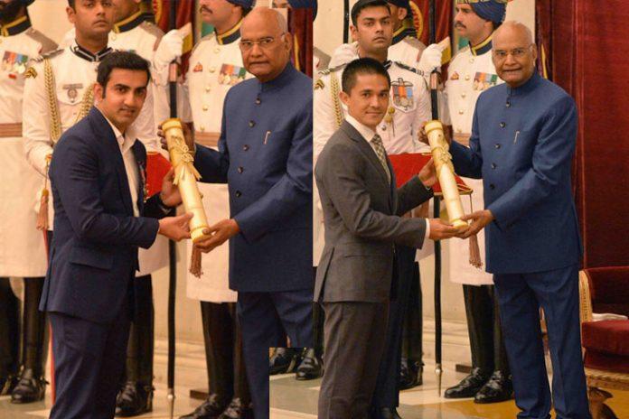 Sunil Chhetri,Gautam Gambhir,Bajrang Punia,Padma Awards,Padma Shri Awards