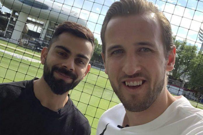English football star Harry Kane plays cricket with Kohli, wishes him luck