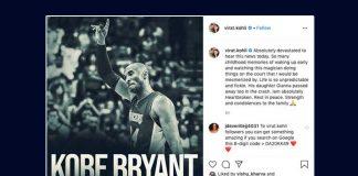 Kobe Bryant,Kobe Bryant death,Virat Kohli,Kobe Bryant mourning,Sports Business News